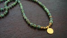 African Turquoise Healing Mala - African Turquoise & Gold Lotus - Yoga, Buddhist, Prayer Beads, Jewelry - Free Shipping Etsy. $59.00, via Etsy.