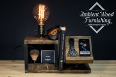Wood Bedside Utility Storage Box Lamp With Pipe Stand Electronic Docking Station by AmbientWood on Etsy https://www.etsy.com/listing/226887341/wood-bedside-utility-storage-box-lamp