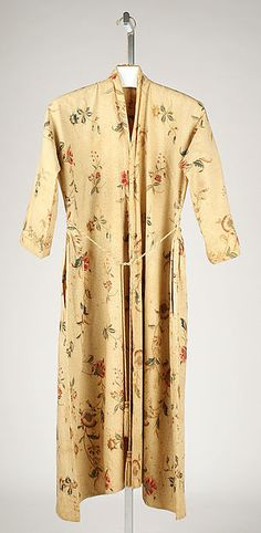 Banyan  Date:     1725–99  Culture:     American  Medium:     linen, cotton  Credit Line:     Gift of Kate C. Lefferts, 1973  Accession Number:     1973.195.1a, b