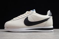 Wmns Nike Classic Cortez Leather Pale Ivory/Black 807471-111 Latest Sneakers, Sneakers Nike, Nike Sb, Nike Air Max, Jordan 11 Blue, Nike Classic Cortez Leather, Nike Dunks, Running Shoes For Men, New Shoes