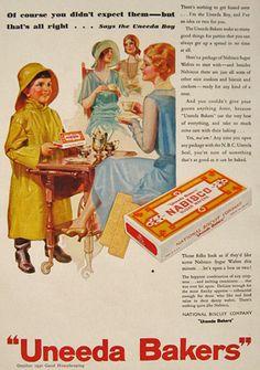 1930 Vintage Uneeda Bakers Nabisco Sugar Wafers Ad