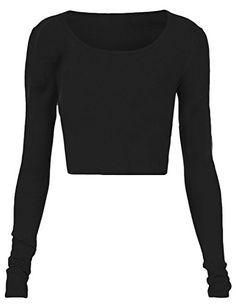 Fashion Womens Long Sleeve Crop Top Round Neck T Shirt Blouse >>> Check out the image by visiting the link.