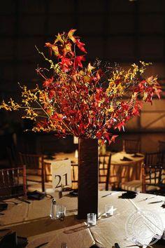 Tall wedding Fall centerpiece