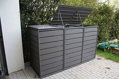 Garbage bin box gray aluminum - 3 series with folding roof Classic Garbage Shed, Garbage Storage, Storage Bins, Small Courtyard Gardens, Small Courtyards, Small Backyard Design, Garden Design, Bin Store Garden, Bike Shed