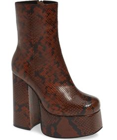 Add an extreme lift to your look with this showstopping boot from Jeffrey Campbell set on a sky-high platform and heel. Platform High Heels, Platform Boots, High Heel Boots, Heeled Boots, Bootie Boots, Red Platform, Floral Boots