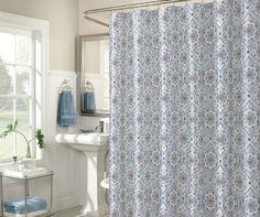 Zara White Gray Flower Medallion Shower Curtain
