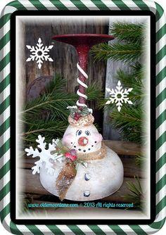 Snowman sculpted Margarita glass votive holde by Wendy Young of Oldemoonlane Primitives Wine Glass Crafts, Wine Bottle Crafts, Mason Jar Crafts, Snowman Crafts, Holiday Crafts, Christmas Crafts, Valentine Decorations, Xmas Decorations, Wine Glass Candle Holder