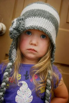 PATTERN – Super Easy Crocheted Beanie Hat with a large flower - adorable little model, too!