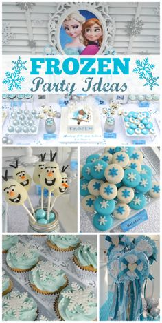 Check out this magical Snow Princess Frozen girl birthday party with amazing treats! See more party ideas at CatchMyParty.com!