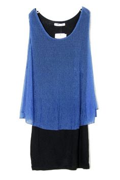 Blue Chiffon Round Neck Tank Above Knee Dress