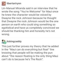 """I think I saw that interview! Lin's exact words were, """"Gaston level lyrics"""" and I just thought that was beautiful lol. Lin=Life and everything good in the worldTap the link now to visit the one stop shop for Rock Band and Gothic Merchandise! Tumblr Funny, Funny Memes, Hilarious, Funny Quotes, Disney And Dreamworks, Disney Pixar, Moana Disney, Disney Love, Disney Magic"""