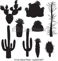silhouette-vector, cactus and tree