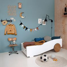 kids room with white bed and grey wall Kids Bedroom Dream, Kids Bedroom Boys, Boy Toddler Bedroom, Boys Bedroom Decor, Childrens Room Decor, Bedroom Themes, Baby Room Decor, Nursery Room, Kids Decor