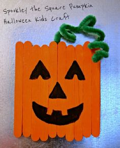 Popsicle Stick Pumpkin Magnet