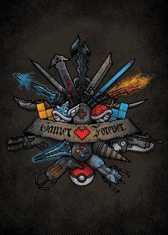 gamer videogame game console pokemon final fantasy diablo halo kingdom hearts zelda portals mario Illustration