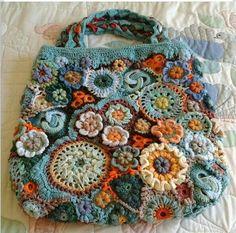 crochet handbags Ravelry: Tottiehoekoms Tasche Source by Art Au Crochet, Crochet Shell Stitch, Crochet Motifs, Freeform Crochet, Irish Crochet, Crochet Stitches, Crochet Patterns, Crochet Simple, Love Crochet