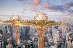 futuristic city in the sky by hrama