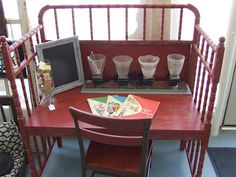 Somethin' Salvaged: repurposed baby changing table turned kids desk