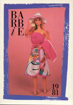 """Barbie Collectible Fashion Card  /"""" Paint the Town Red /""""  1981"""