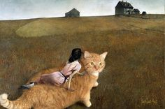 Famous-Paintings-Zarathustra-Fat-Cat-New-Art-Svetlana-Petrova - Wanderlust Fat Cats, Cats And Kittens, Kitty Cats, Fat Orange Cat, World Cat, Cat Character, Andrew Wyeth, Ginger Cats, Funny Art
