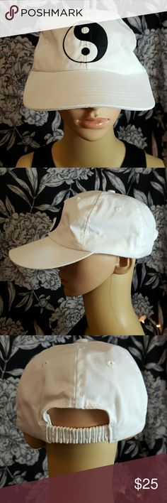 90s vintage Ying yang baseball hat White with totally 90s Ying yang patch on front. Elastic in back. Some wear due to age but still lots of life left. Vintage Accessories Hats