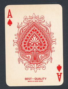 Reverse Color playing card single swap ace of spades - 1 card