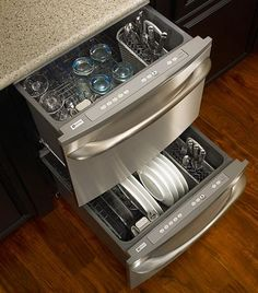 You wouldnt need to wait for a whole dishwasher to fill up - just wash one drawer at a time.....absolute genius!