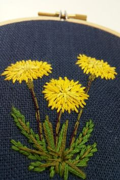 Hand embroidered dandelion Floral embroidery Embroidered by KasiaJ
