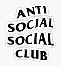 Anti Social Social Club by aeriellekim Tumblr Stickers, Phone Stickers, Cool Stickers, Printable Stickers, Red Bubble Stickers, Anti Social Social Club, Aesthetic Stickers, Bape, Sticker Design