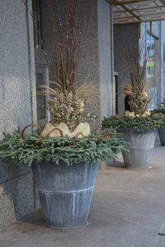 Beautiful Winter Holiday Outdoor Plants You Will Like It 61 Christmas Urns, Christmas Planters, Christmas Garden, Fall Planters, Outdoor Christmas Decorations, Xmas, Garden Planters, Winter Porch, Winter Garden