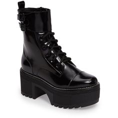 Women's Jeffrey Campbell Melvin Platform Bootie ($165) ❤ liked on Polyvore featuring shoes, boots, ankle booties, black box, strappy booties, strappy ankle boots, army boots, chunky booties and combat boots