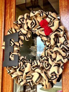 Custom Monogram Burlap Chevron Wreath with by Frontdoorshowcase, $50.00
