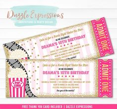 Celebrating with an under the stars movie backyard party or movie theater birthday party soon? Invite your guests in style with this custom and affordable pink and gold glitter under the stars movie ticket birthday invitation. This design is characterized by it's ticket style, popcorn, film and gold stars art work. Party packages available!