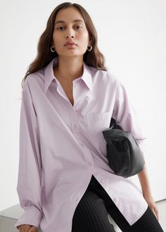 Voluminous Cotton Shirt - Lilac - Shirts - & Other Stories GB Trouser Outfits, Side Zip Boots, Fashion Story, Shirt Blouses, Hemline, Personal Style, Autumn Fashion, Ruffle Blouse, Clothes For Women