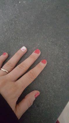 Cute Heart Nails #Mesauda #Raspberry #White ❤
