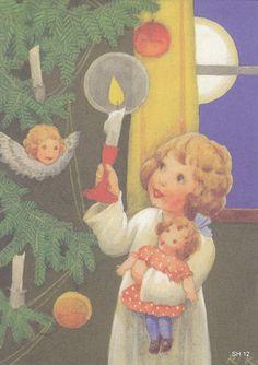 Vintage Christmas Cards, Christmas Images, Christmas Angels, Xmas Cards, Christmas Art, Christmas Decorations, Vintage Book Art, Girl Face Drawing, Christmas Illustration