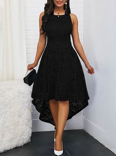 Women's Cocktail Party Sexy Asymmetrical A Line Dress - Solid Colored Lace Sprin. Women's Cocktail Party Sexy Asymmetrical A Line Dress – Solid Colored Lace Spring Lace Black Pu Pretty Dresses, Sexy Dresses, Evening Dresses, Casual Dresses, Prom Dresses, Elegant Dresses, Summer Dresses, Backless Dresses, Cinderella Dresses