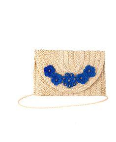 Pochette in paglia con decorazione floreale blu