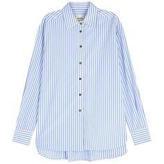 KHAITE Maria Blue Striped Poplin Shirt - Size S ($535) ❤ liked on Polyvore featuring tops, poplin shirt, blue shirt, striped top, curved hem shirt and poplin top