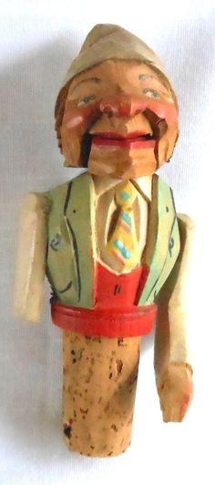 salt /& pepper bottle opener Vintage Hand Carved Wood Figures Cork Wine Stopper