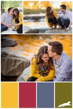 Don't know what to wear for your fall outdoor engagement photo session? Mustard…