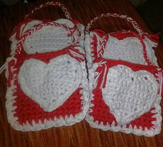 Small Valentine's Day Favor bags Crochet by TheCrochetingDiva