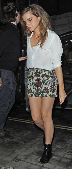 London nights: The 25-year-old was pictured making her way into celebrity hotspot, The Chiltern Firehouse, in a while blouse and patterned mini skirt