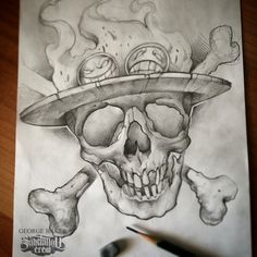 This black and grey pencil on paper realistic skull design inspired from the manga One Piece is another great artwork of Baker from SakeTattooCrew! A skillful sketchwork with high quality details and smooth shading that is also a perfect idea for a tattoo too!