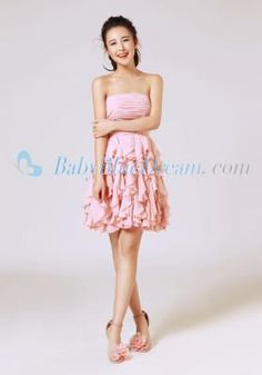 A-Line Strapless Pink Chiffon Short Dress