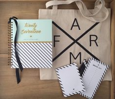 FARMHOUSE PLANNER BOX - Made in the USA  +2017 Heart of the Farm Planner +FARM Canvas Market Tote by Farmhouse Box + Designer Notepad set + Custom Pencil set + Sleek Ribbon to mark your page  Perfect gift, they'll rave about!