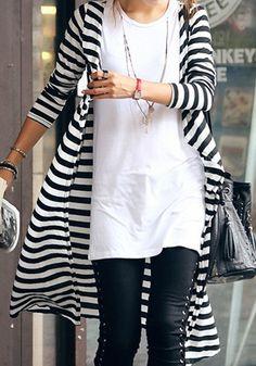 Collar Maxi Stripe Cardigan - Double Color In Stripe