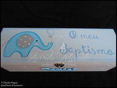 """Caixa para toalha e vela de batismo """"Sweet Elephant"""""""