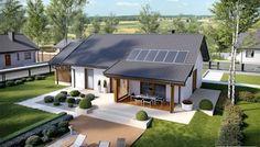 Projekt domu Kornel VI (z wiatą) energo - koszt budowy 165 tys. Modern Bungalow House, Small House Design, Facade House, Bungalows, Home Design Plans, Small House Plans, Big Houses, Simple House, Home Fashion