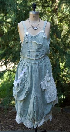 Magnolia Pearl Handwoven Linen Phibe Overalls with Antique Eyelet - Seafoam by Society Hill Designs